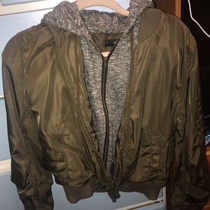 Olive green & grey hoodie puff utility jacket.